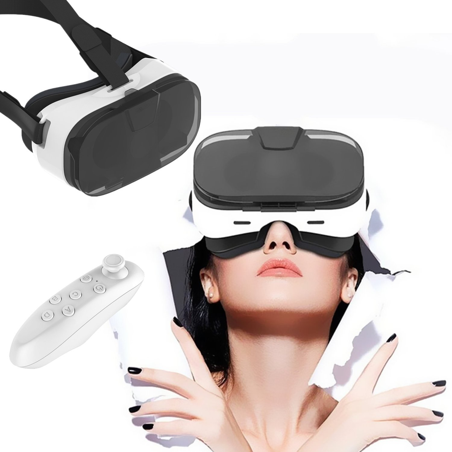 3D Virtual Reality Headset, VR Glasses/Headset with Remote & Half Transparent Cover for iPhone X 8 7 6S 6 Plus SE 5S, Samsung Galaxy S8 S7 S6 Edge& Other 4.0-6.5'' Cellphones by TSANGLIGHT