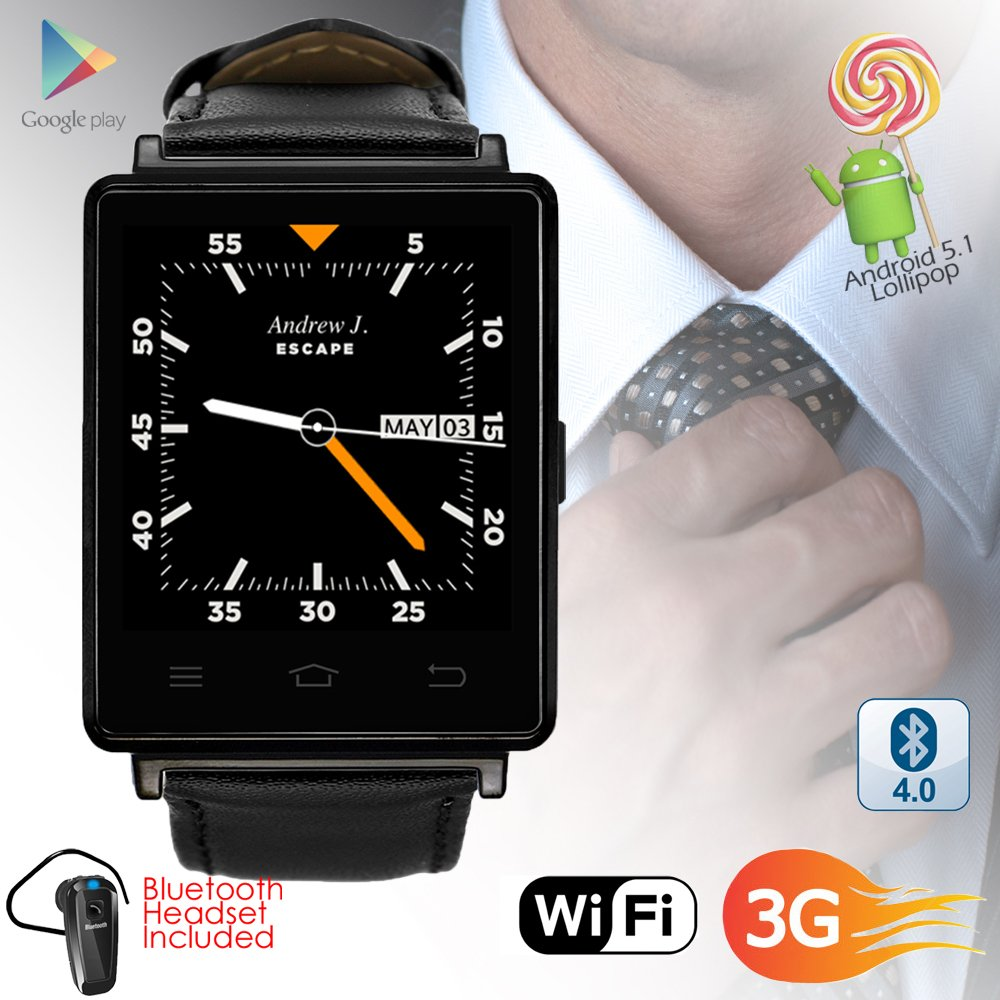 Indigi 2017 Android 5.1 3G Unlocked SmartWatch & Phone WiFi + GPS(Maps) + Heart Rate + Google Play Store + Bluetooth bundle