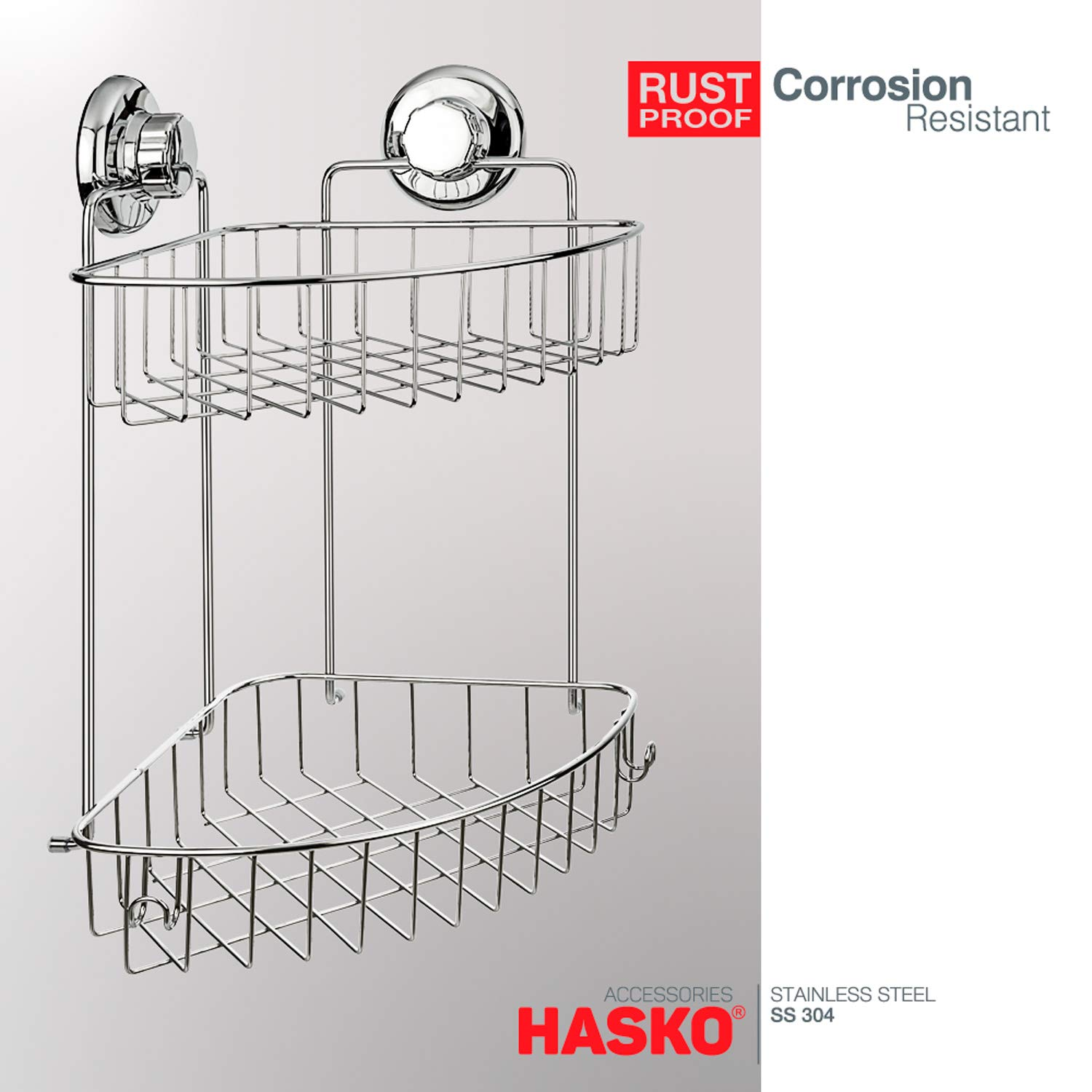 304 Stainless Steel Polished Chrome Shelf 2 Tier Basket Holder for Bathroom and Kitchen HASKO accessories Suction Cup Corner Shower Caddy