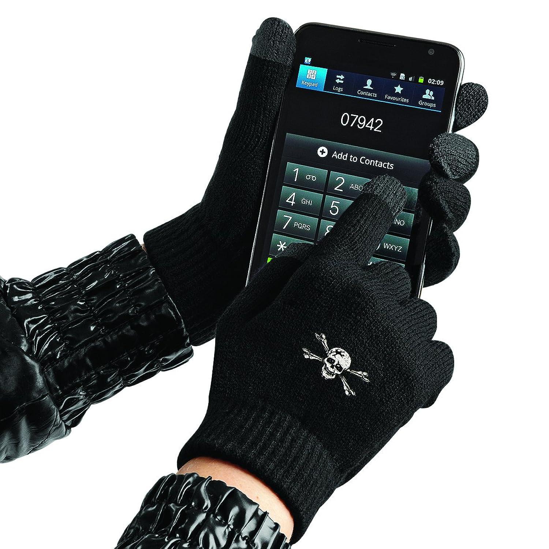 TouchScreen Handschuhe Glove mit hochwertiger Einstickung - TOTENKOPF SKULL - (31652 schwarz) Gr. S-XL
