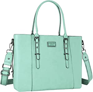 MOSISO PU Leather Laptop Tote Bag for Women (Up to 15.6 inch), Mint Green