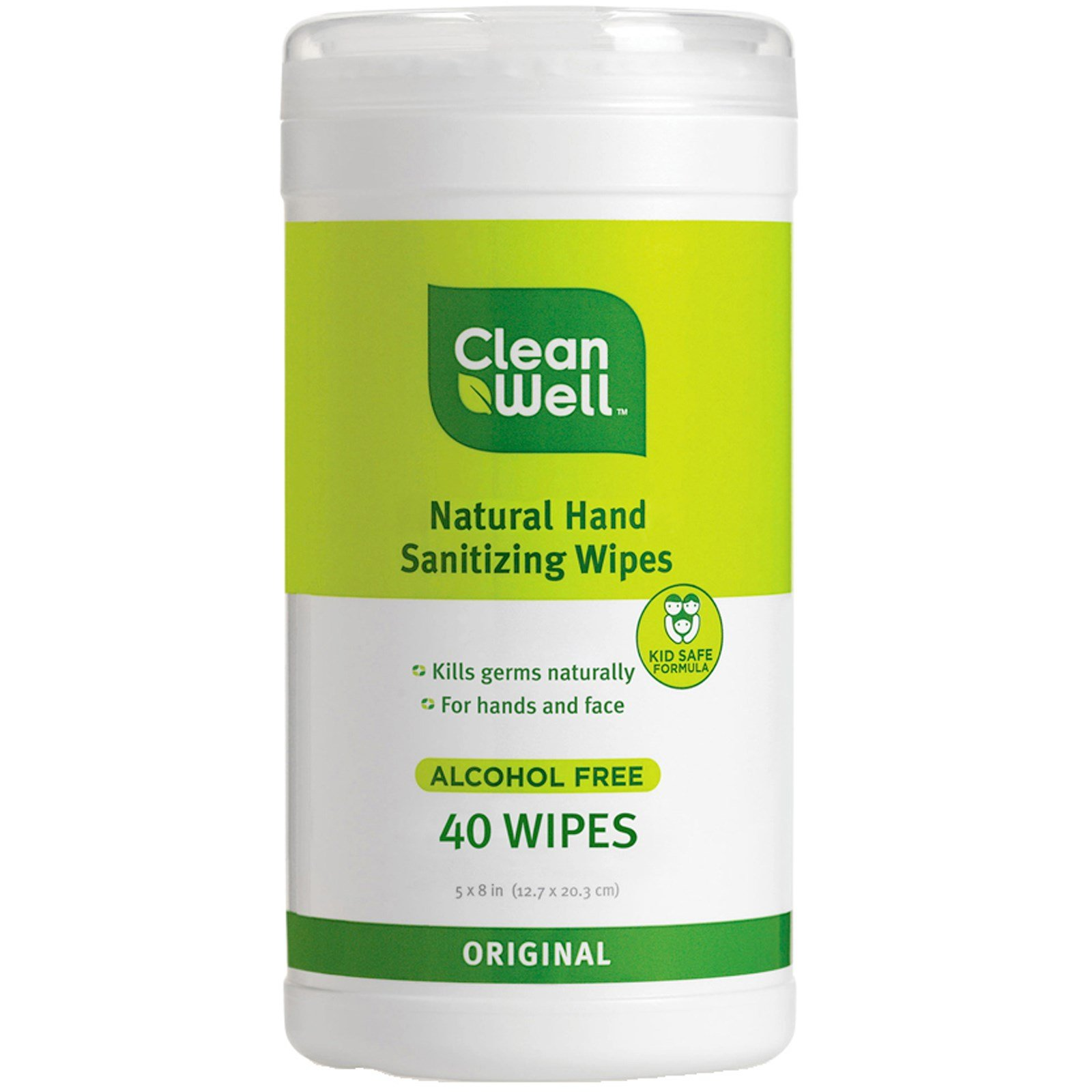 Clean Well, All-Natural Hand Sanitizing Wipes, Alcohol Free, Original, 40 Wipes, 5 x 8 in (12.7 x 20.3 cm) Each - 2pc