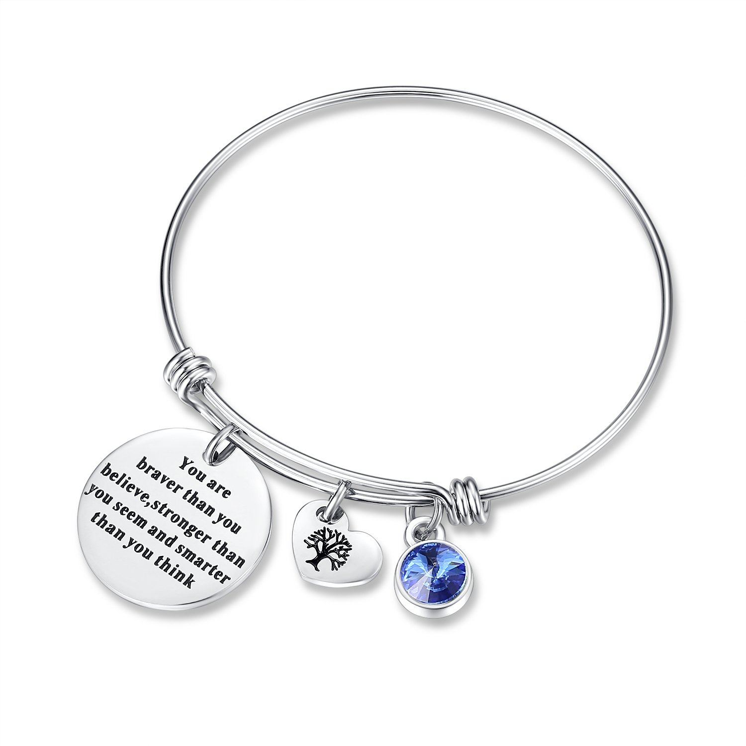 September Birthstone You Are Braver Than You Believe Think Charm Bracelet Jewelry with Heart Tree of Life, Birthday Gifts for mom sister mother daughter friendship wife christmas day gifts (Sapphire)