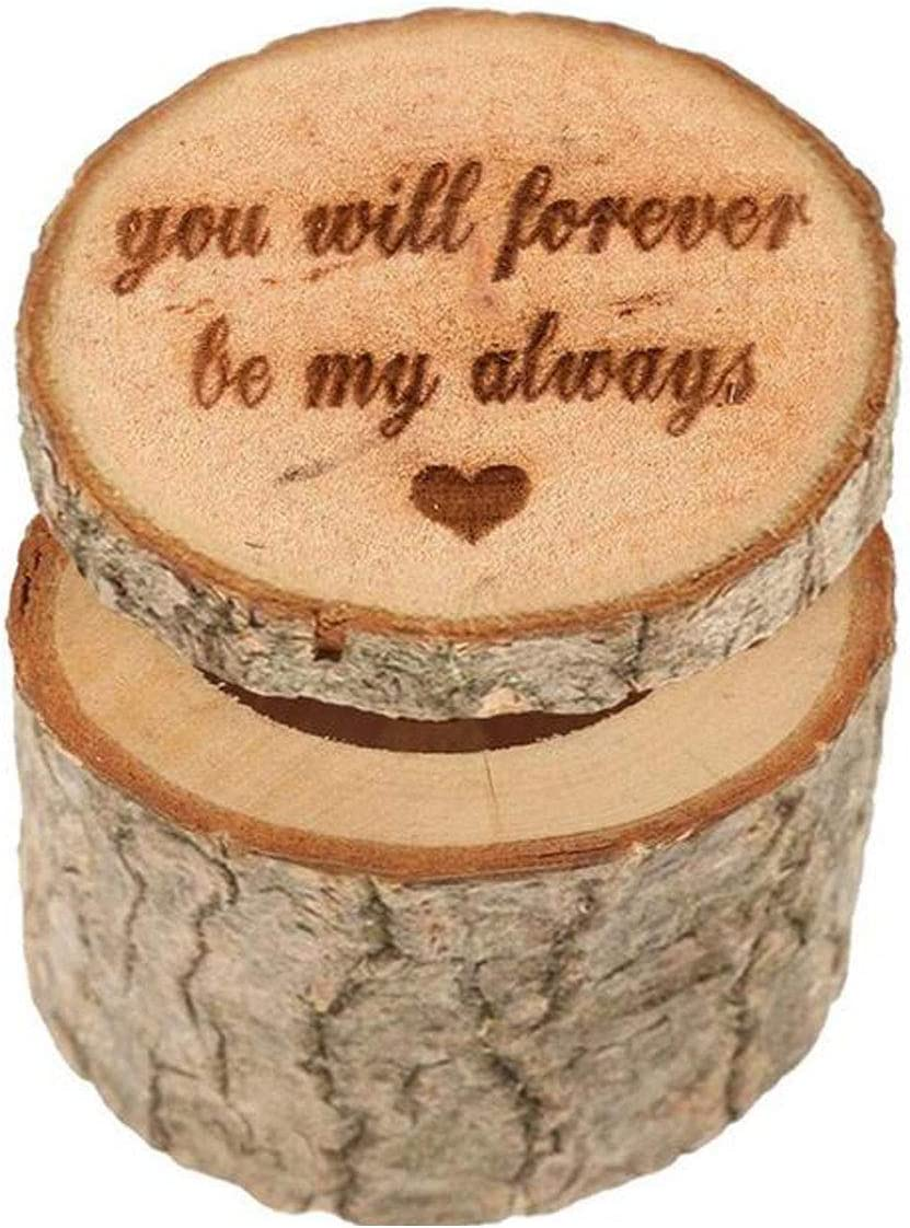 Numblartd Rustic Wooden Printed Wedding Ring Holder Box - Shabby Ring Bearer Box for Valentines Day Anniversary Engagement Wedding Gift Jewelry Box (D#)