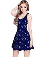 CowCow Womens Blue Airplanes in the Night Sky Pattern Sleeveless Skater Dress