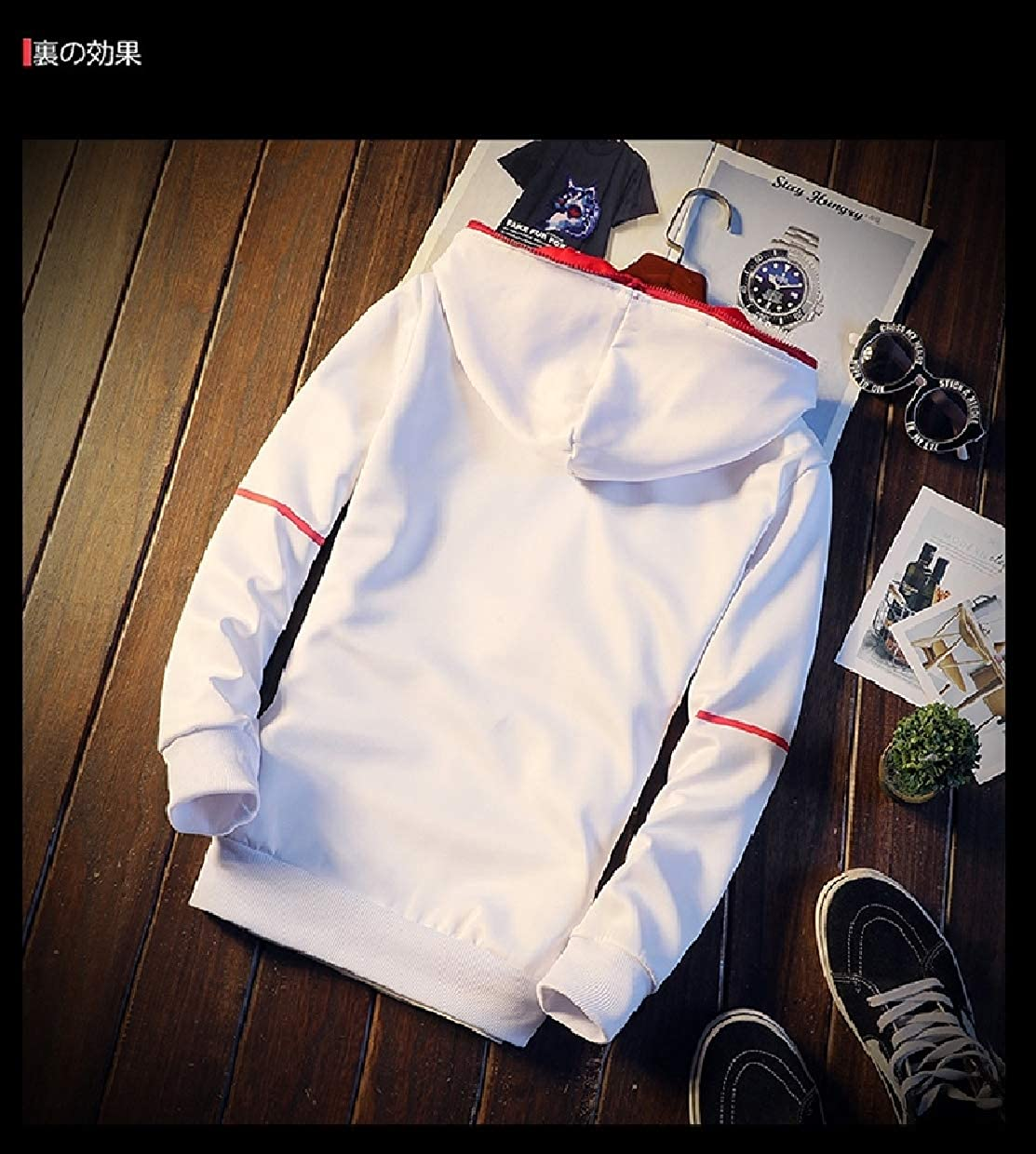 White ROHEP Men's Slim Slim Slim Fitted Casual Training Hoode Sports Tracksuit Set 4d2afb