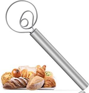 Danish Dough Whisk,12 Inch Large Stainless Steel Danish Dough Wisk for Bread Making Tools & Supplies-Kitchen,Dining,Home for Hand Mixer & Blender for Baking Flour, Dessert, Sourdough, Pizza, Pastry