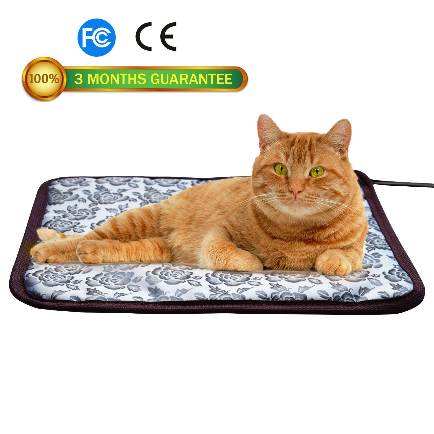 "Pet heat pad for Cats Dogs ,Pet Electric Waterproof Heating Pad with Chew Resistant Steel Cord (S:17.7x17.7 in, FLOWER) (S-17.7""x17.7"", Flower)"