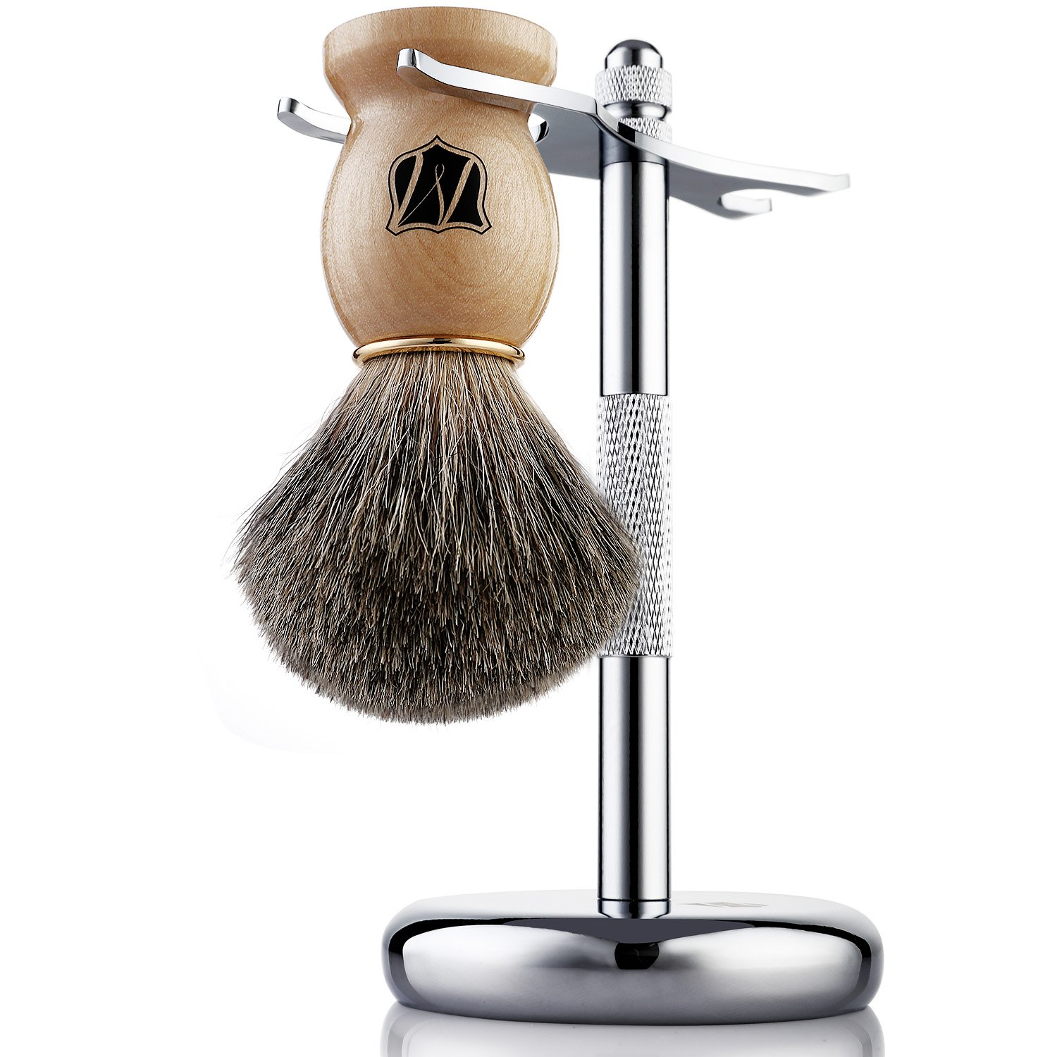 Miusco Badger Hair Shaving Brush and Shaving Stand Set, Chrome Stand, Wooden Brush
