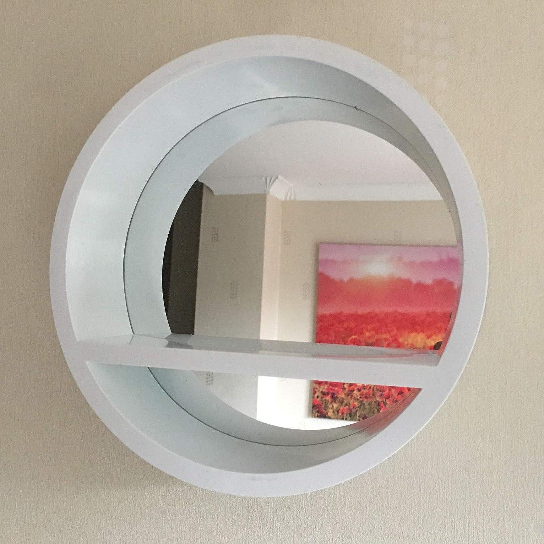 Homestyle White Round Shelf Mirror Amazon Co Uk Kitchen Home