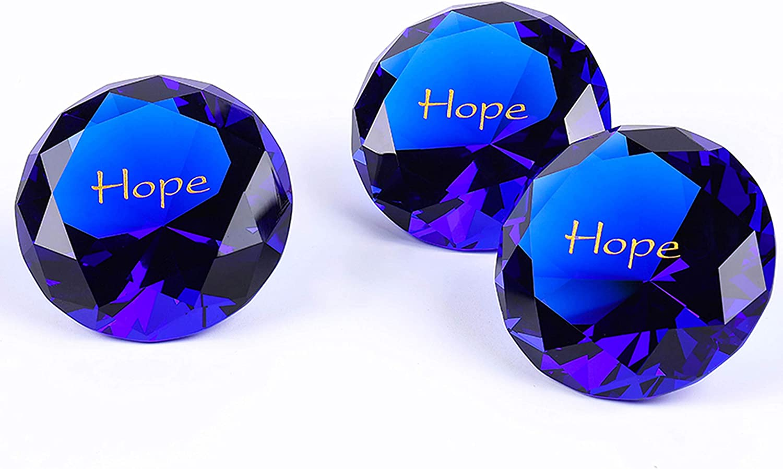 "12PCS Hope RockImpact 60mm (2.5"") Extra-Large Engraved Sapphire Blue Crystal Diamond, Prism Suncatcher Rainbow Maker, Wedding Table Home Decoration Paperweight Optimism Encouragement Glass Crystal"