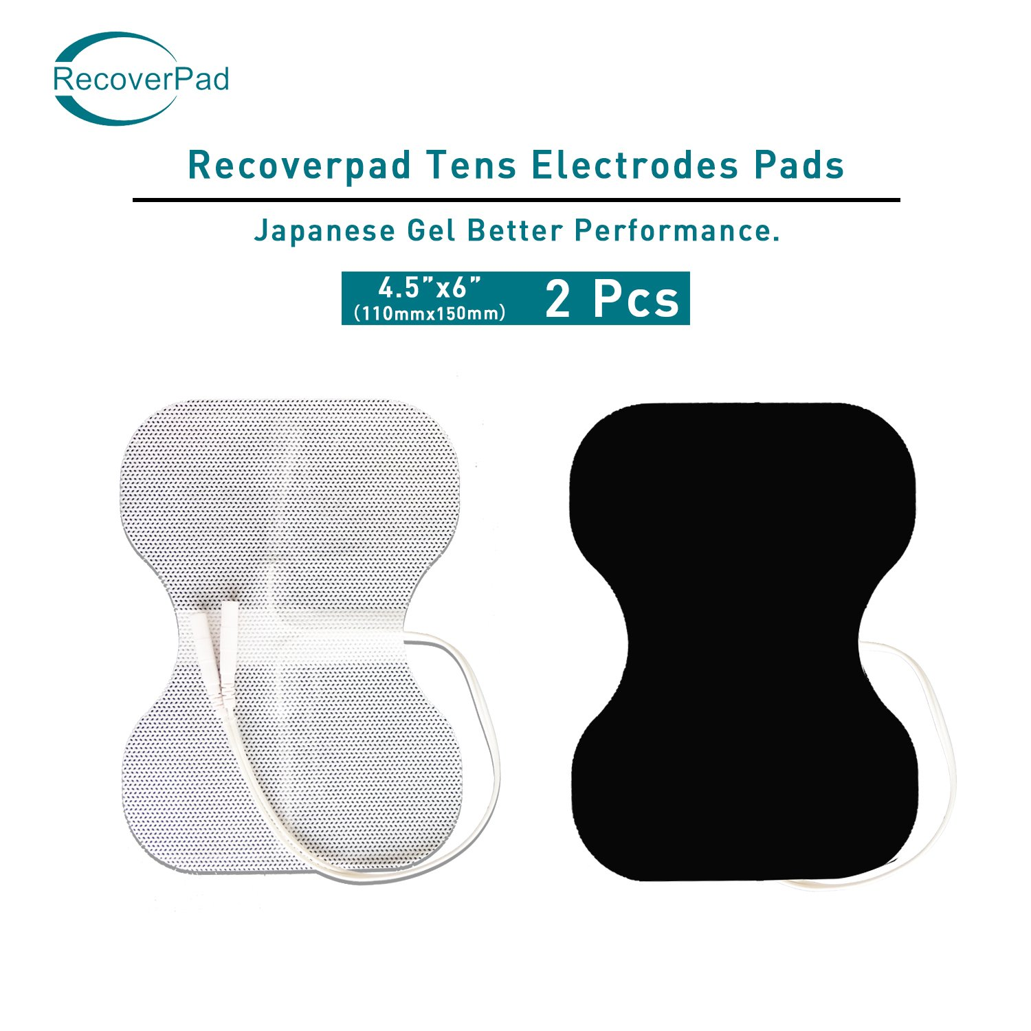 RecoverPad 4.5X6 Large Butterfly TENS Unit Pads,2-Pack 3nd Gen Japanese Gel Latex-Free Replacement Electrode(FDA 510K Cleared) with Upgraded Self-Stick Performance,Skin Friendly and Non-Irritating