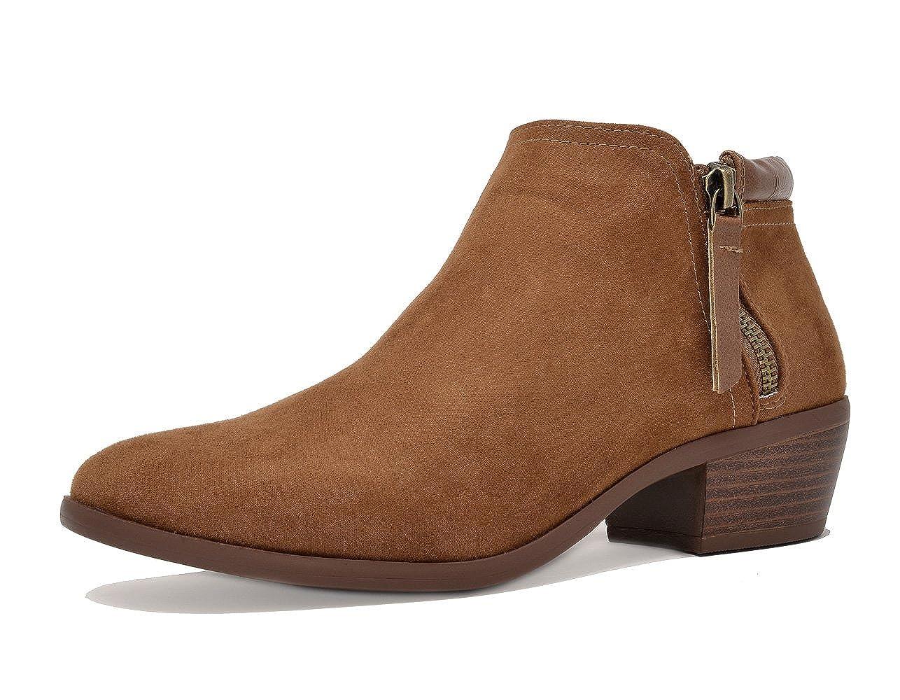 02-TAN TOETOS Women's Cowboy Block Heel Side Zipper Ankle Booties