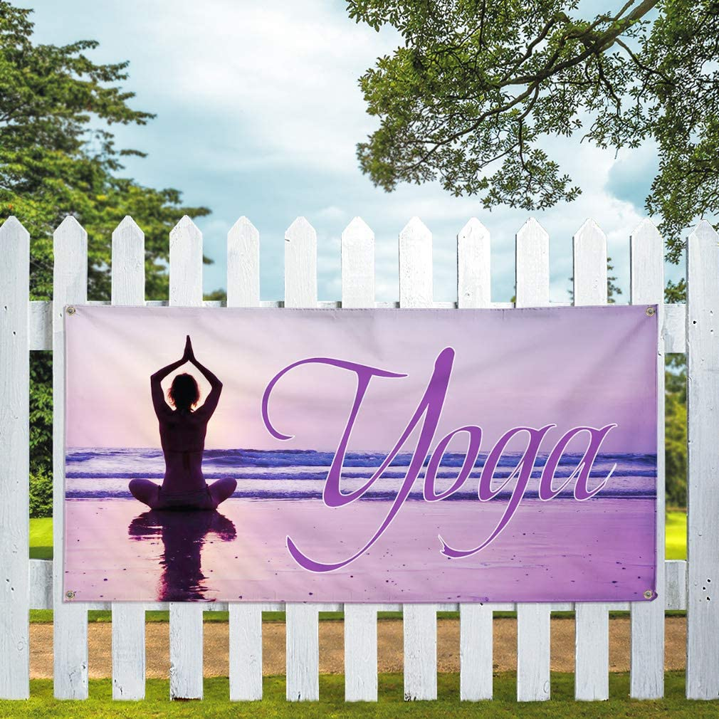 Set of 2 Vinyl Banner Sign Yoga #1 Style D Sports Yoga Sport Outdoor Marketing Advertising Purple 32inx80in 6 Grommets Multiple Sizes Available