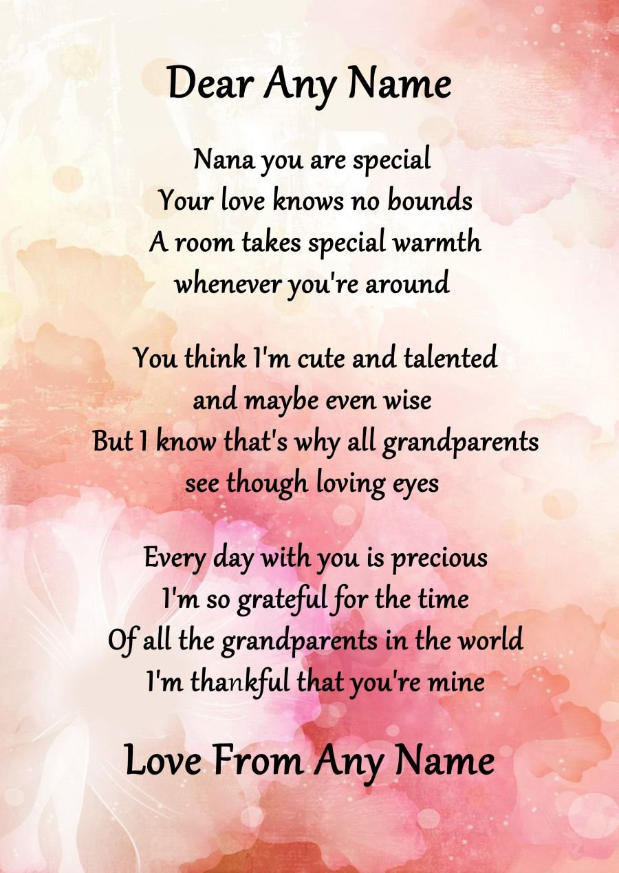 Nana personalised poem certificate gran grandma nanna nanny nana personalised poem certificate gran grandma nanna nanny mothers day gift amazon office products negle Images