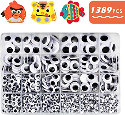 WIBBLY WOBBLY PEEL OFF STICKERS STICK ON SELF ADHESIVE GOOGLY EYES 100 X 8mm