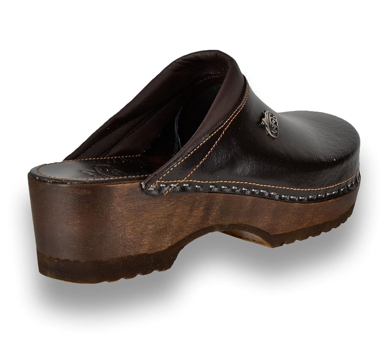Leon B4 Sabots Mules Chaussons Chaussures en Cuir Femme Dames