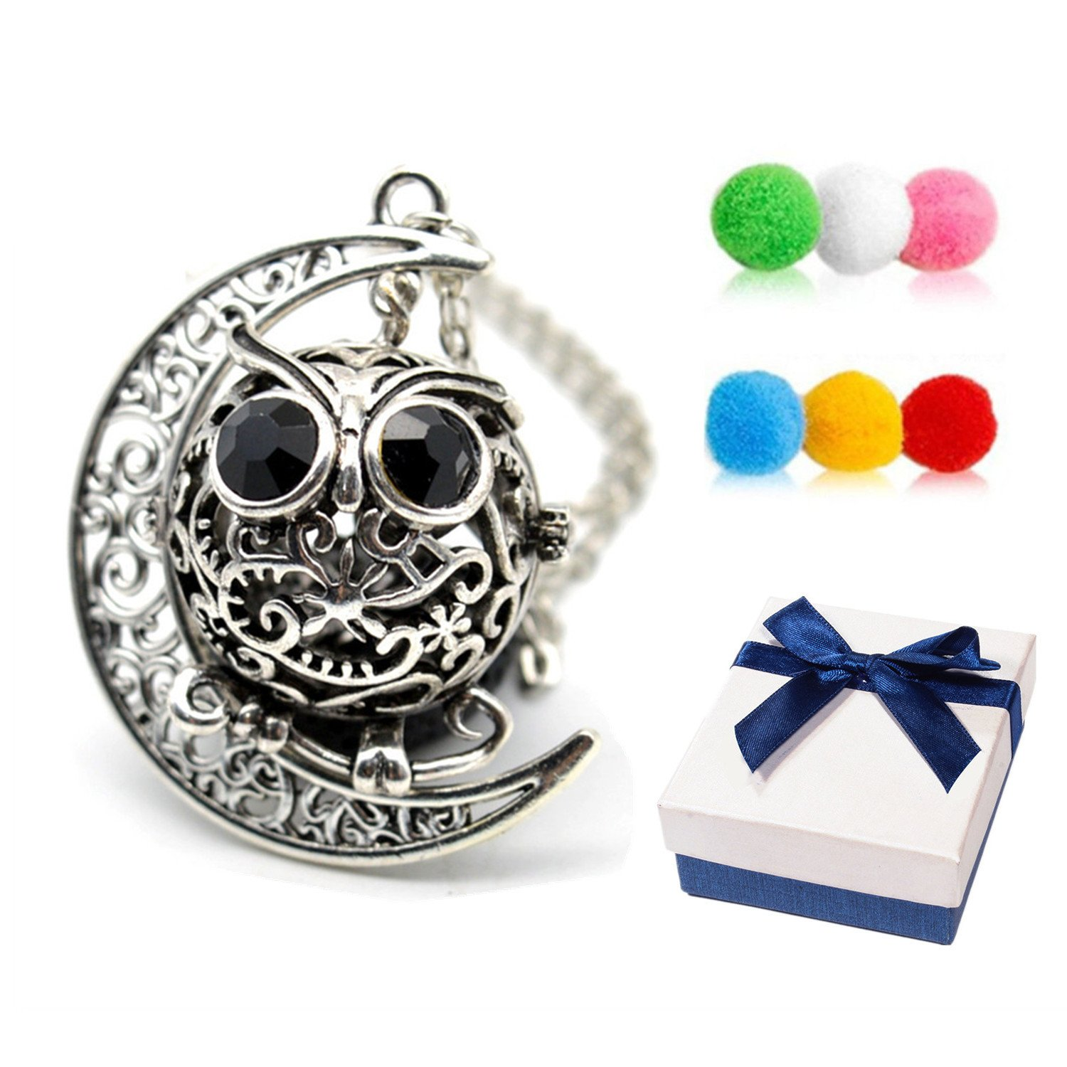 JJG Antique Silver Owl Locket Perfume Fragrance Necklace Aromatherapy Essential Oil Diffuser Pendant with Stainless Steel Chain 18'' (With Moon)