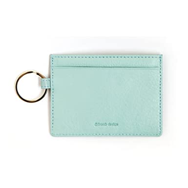 leather river slim card wallet useful credit card key ring wallets small purse sky blue at amazon womens clothing store - Card Holder With Keyring