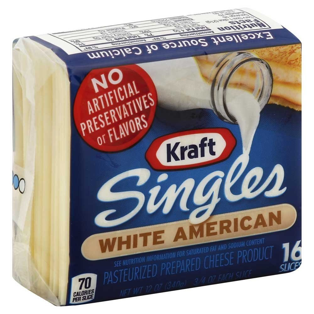 Kraft American Sliced White Cheese, 12 Ounce -- 12 per case.