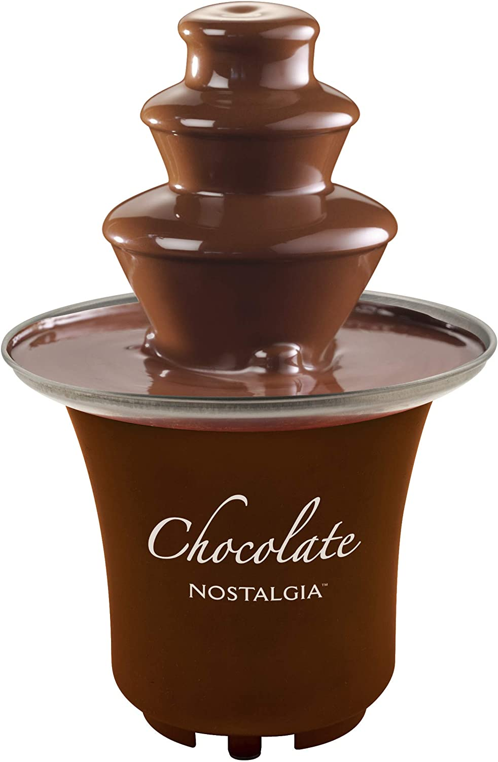 Nostalgia CFF3BR 8-Ounce Chocolate Fondue Fountain, Half-Pound Capacity, Easy to Assemble 3-Tiers, Perfect For Nacho Cheese, BBQ Sauce, Ranch, Liqueurs, Brown