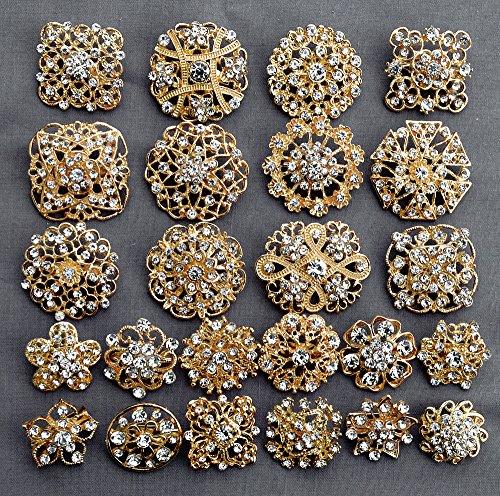 24 pcs Gold Rhinestone Brooch Crystal Brooches Wedding Invitation Cake Decoration Brooch Bouquet Kit Wholesale Lot BR680
