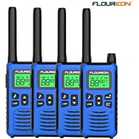 FLOUREON Walkie Talkies 4 Pack Long Range Two Way Radio 22 Channel 3000M (MAX 5000M) USB Cable Charging Walkie Talkies for Outdoor Adventures Camping Hiking for Kids or Adult (Blue)