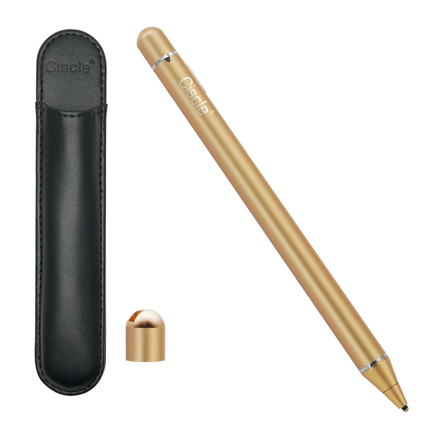 Ciscle [Electronic Stylus] Active Stylus Digital Pens with 1.8 mm Fine Point Copper Tip for iPhone/iPad/Tablet and Other Capacitive Touchscreens Devices, Good for Drawing and Handwriting (Gold)