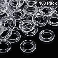 Boao 100 Stücke Durchsichtige Römische Raffrollo Vorhang Ringe, 13 mm Außen Durchmesser, 8 mm Innen Durchmesser, Transparente Kunststoff Ringe