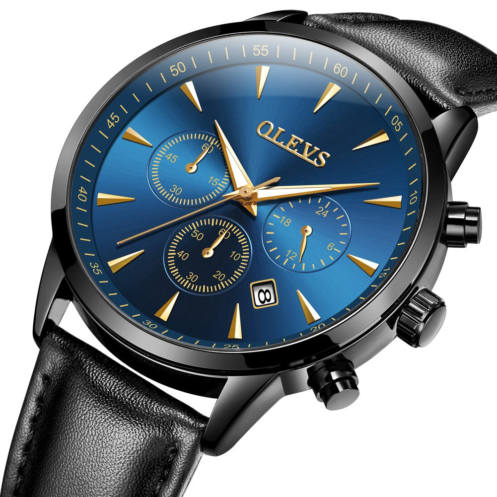 Amazon.com: OLEVS Men Big Face Waterproof Date Window 3 Chronographs 60 Minutes Leather Strap Quartz Wrist Watches, Black/Blue Dial: OLEVS: Watches