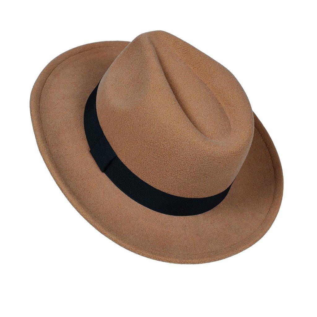 8663241af MATCH MUCH Felt Panama Hat Fedora Hat Trilby Hat (Khaki) at Amazon ...