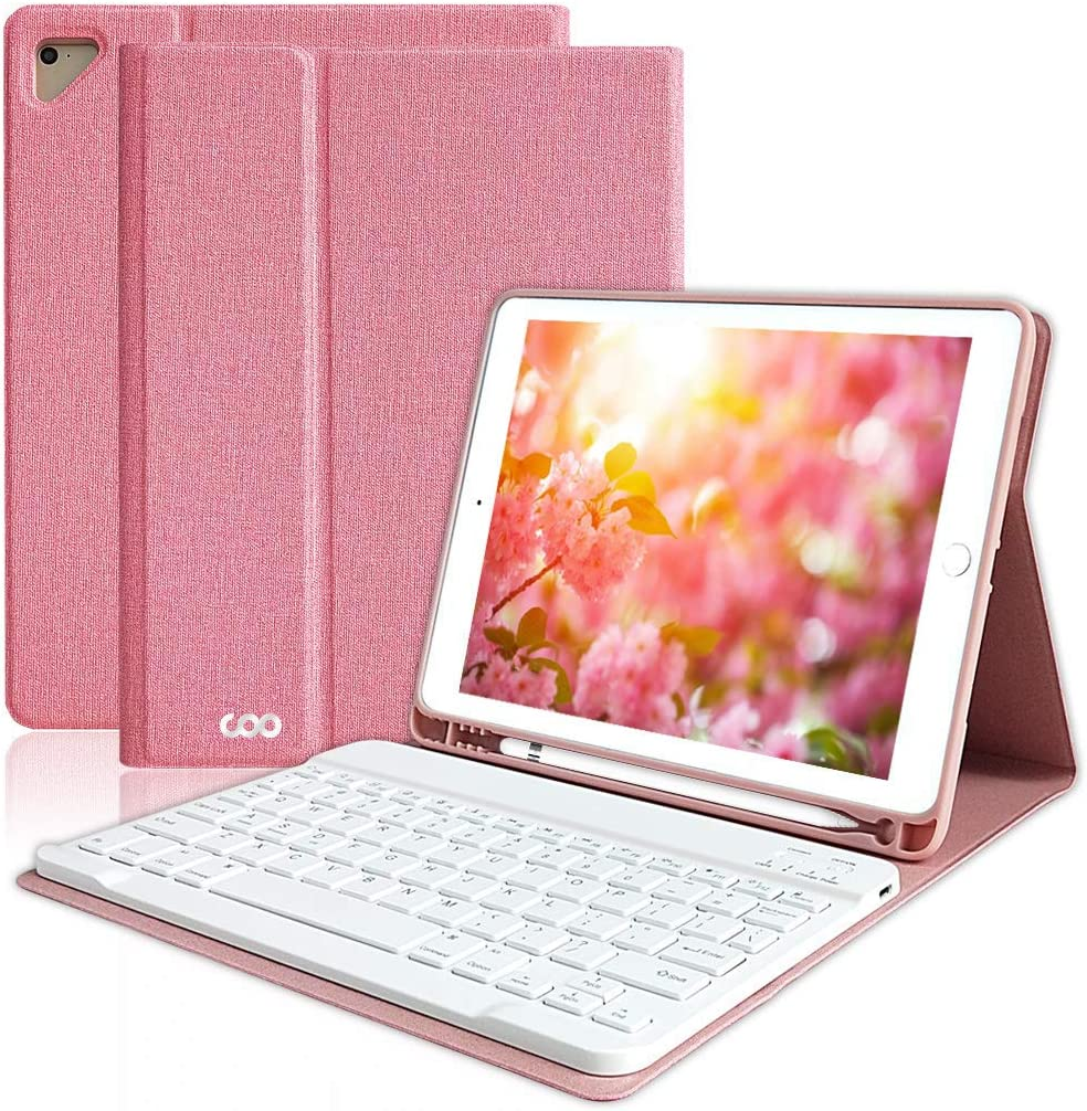 "iPad Keyboard Case 9.7"" 6th Generation with Pencil Holder for New iPad Pro 2018/2017 (5th Gen), iPad Air 2/Air 1, Wireless Removable BT Detachable Protective Cover, Thin Smart Auto Sleep-Wake (Pink)"