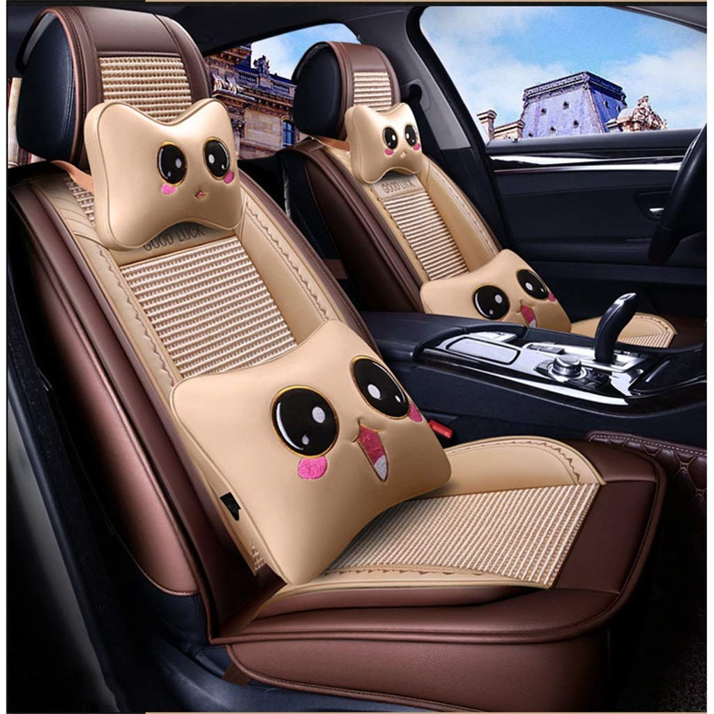 Beige Car Seat Cover, 5 Seat Full Set Universal Ice Silk Four Seasons Pad Compatible Airbag Seat Predectors with Headrest