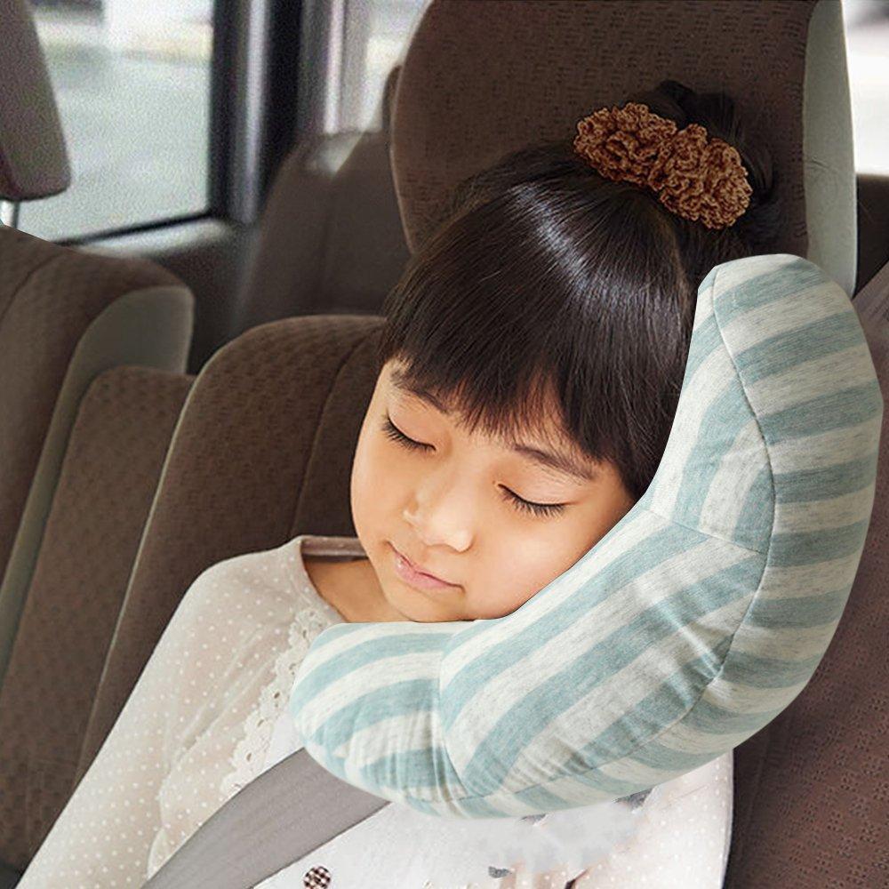 RSPrime Auto Cuscino Cuscini Arresto Cinture di Sicurezza Bambino Cintura Guanciale Proteggono Spalle Collo Comodo del Supporto del Cuscino Staccabile Spalla Protezione, Regolabile per Bambini Sicurezza (Verde)