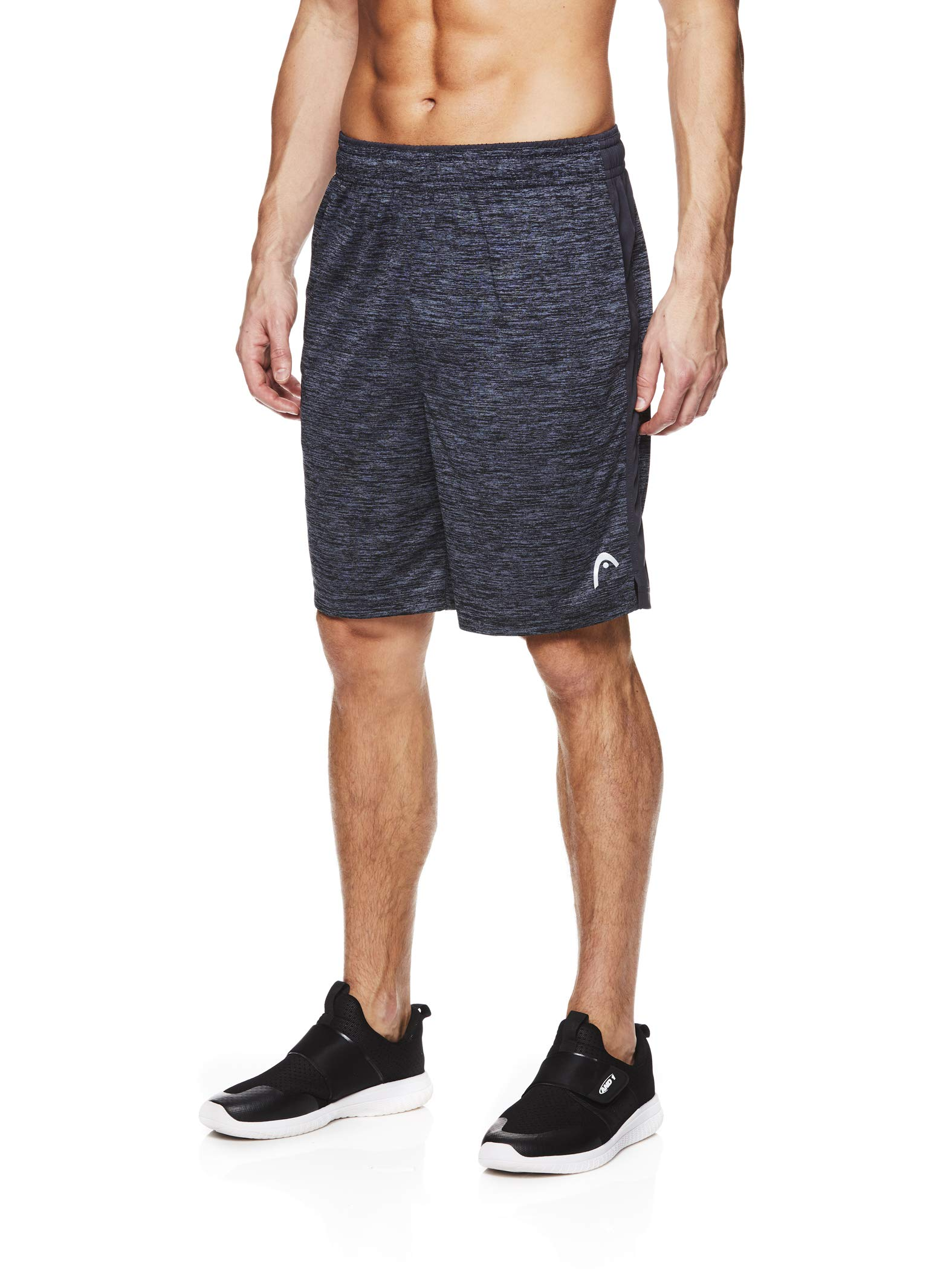 HEAD Men's Polyester Workout Gym & Running Shorts w/Elastic Waistband & Drawstring - Firestarter Chrome Heather Grey, 2X
