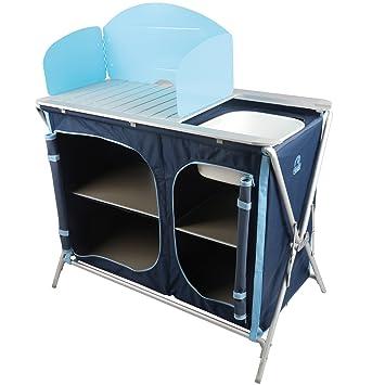 Küchenschrank 97 x 48 x 78 cm mit Spüle und Windschutz in Blau ...