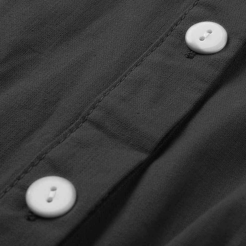 Fitfulvan Womens Button Cardigan Blouse Pocket Long Sleeve Casual Irregular Hem Maxi Dress
