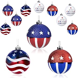 Yseoul 12 Pcs Hanging Ball Christmas Ball Ornaments July of 4th Hanging Independence Day Party Decor Christmas Ornaments Patriotic Ball Ornaments Holiday Wedding Tree Decorations
