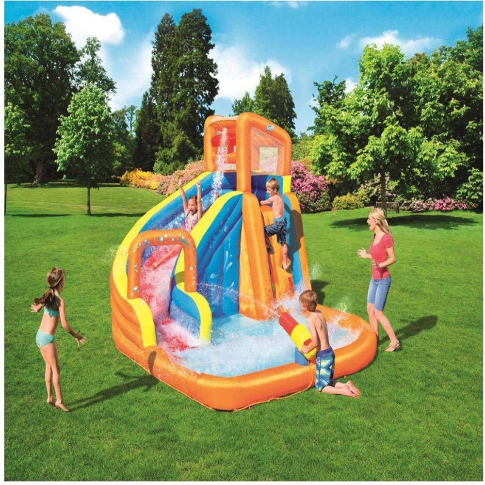 WJSW Juguetes inflables Piscina Inflable de Gran tamaño con tobogán acuático de Verano, Piscina Infantil para niños Piscina con Bolas de océano Surf al Aire Libre Windsurf, 365 * 320 * 270 cm A