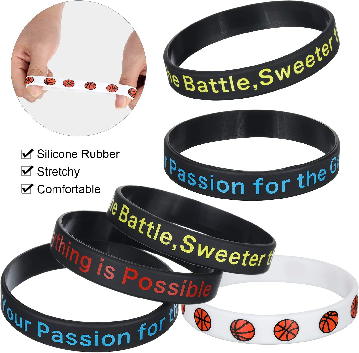 Softball Gejoy 36 Pieces Sports Ball Inspirational Silicone Wristbands Stretch Motivational Bracelets Ball Rubber Bands with Motivational Message for Sport Theme Party Supplies