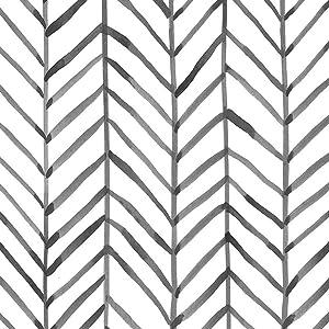 17.7''x19.6ft Removable Boho Wallpaper Peel and Stick Temporary Herringbone Black and White Modern Stripe Chevron Self Adhesive Vinyl Film for Cabinets Bedroom Livingroom Wall Decor
