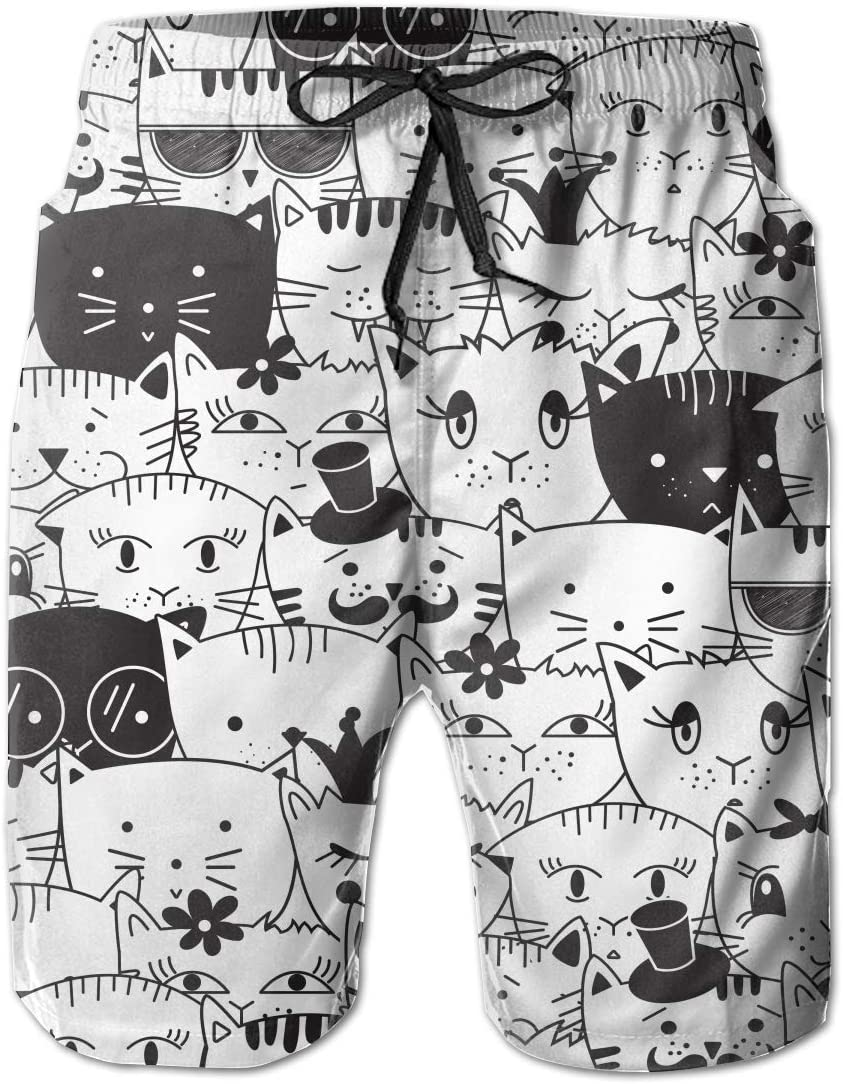FRS Ltd Doodle Cats Mens Quick Dry Swim Trunks Beach Board Short Mesh Lining Casual Athletic Shorts