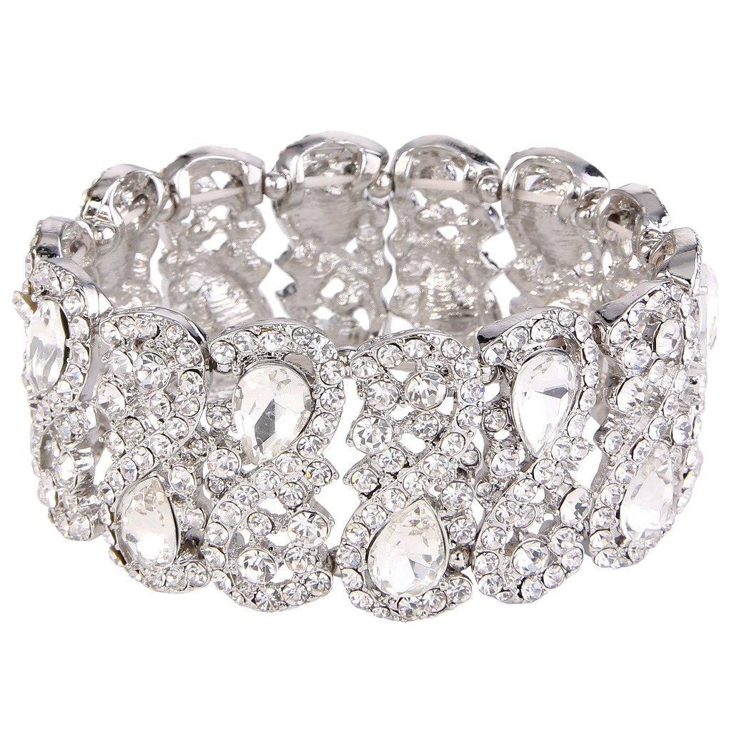 EVER FAITH Women's Austrian Crystal Teardrop 8-Shaped Knot Elastic Stretch Bracelet Clear Silver-Tone by EVER FAITH
