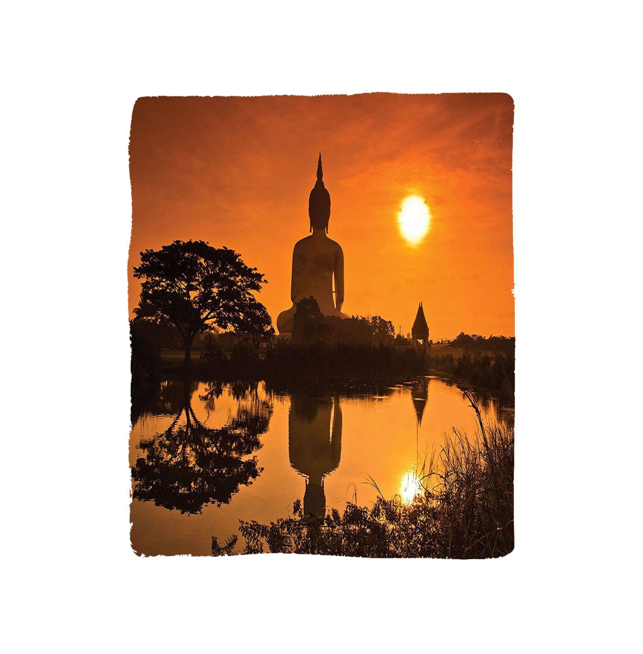 VROSELV Custom Blanket Orange Asian Big Giant Statue by the River at Sunset Thai Asian Culture Scene Yin Yang Print Bedroom Living Room Dorm Art Burnt Orange by VROSELV