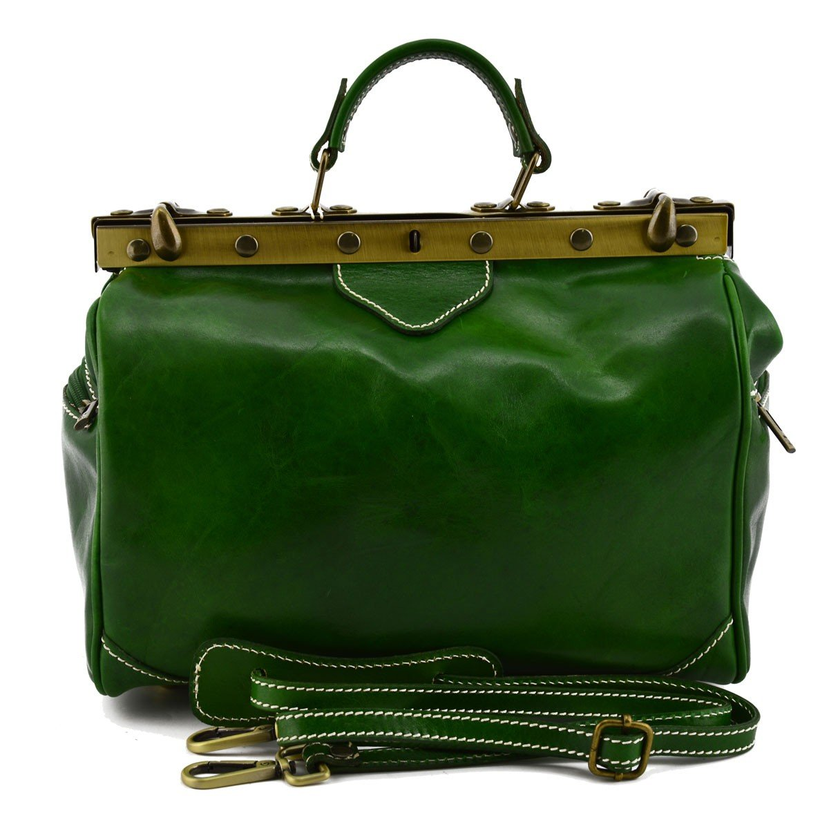 Made In Italy Genuine Leather Bag For Doctor Color Green - Business Bag B014T5OLTM