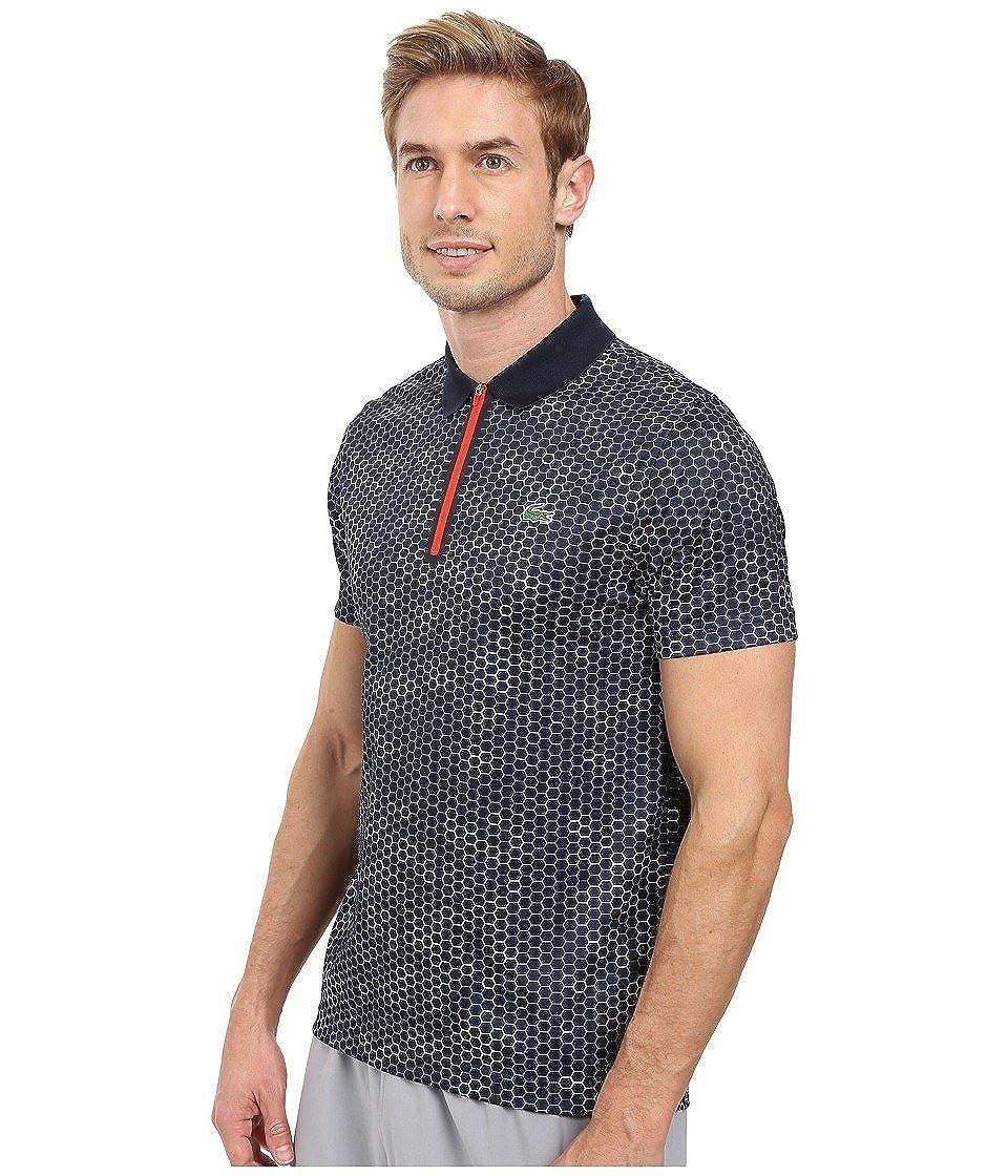 91f5c94fd Lacoste Men s T1 Short Sleeve Printed Ultra Dry w  Zipper Placket Navy Blue  White Corrida Polo Shirt 8 at Amazon Men s Clothing store