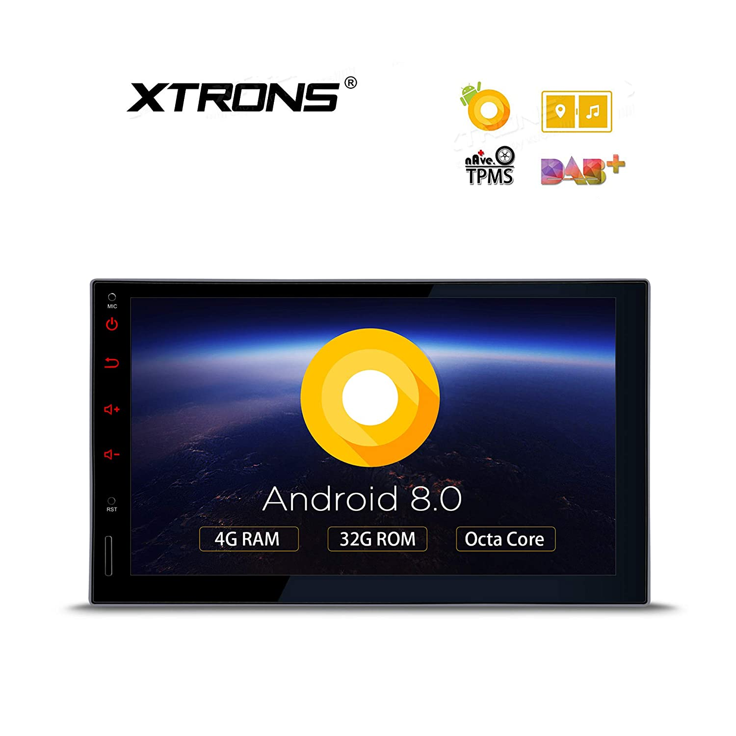 XTRONS 7 Inch Android 8 0 Octa Core 4G RAM 32G ROM HD Digital Multi-Touch  Screen Car Stereo GPS Radio OBD2 TPMS Double 2 Din