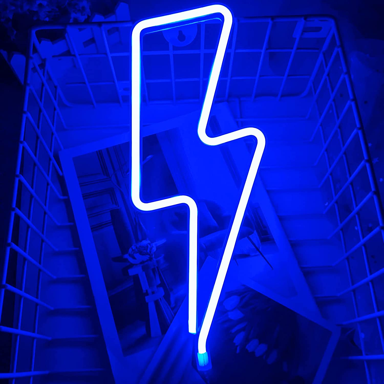 Lightning Bolt Neon Signs LED Neon Wall Decor Light USB/Battery Operated Lightning Shape Decor Light up for Home,Bedroom,Kids Room, Bar,Party,Christmas,Wedding,Halloween