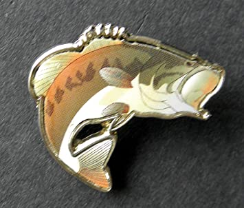 af06d2b29e Amazon.com: Pin for Hats - Wide Mouth Bass Fish Fishing Printed ...