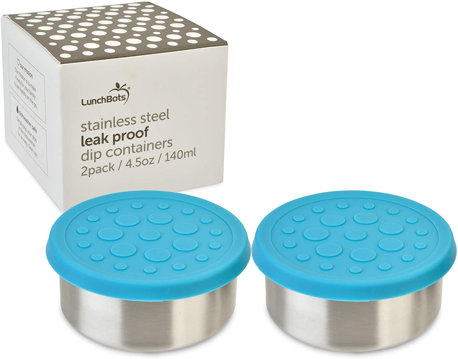LunchBots 4.5 oz Leak Proof Snack and Side Dish Containers - Set of 2 (4.5 oz) - Spill Proof in Bags and Bento Boxes - Food-Grade Stainless Steel With Silicone Lids - Aqua